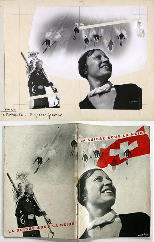 Herbert Matter — La Suisse Sous La Neige, Original sketch and final print (1930)