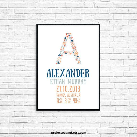 """Birth Announcement - Nautical Wall Art - Nautical Alphabet - Beach Wall Decor - Sailor Nursery - Baby Boy Nursery - Nautical Decor  PLEASE NOTE:  + You are purchasing a digital file only.  + NO PRINTED MATERIALS ARE INCLUDED!  + There are NO REFUNDS as this is a digital product.  + A reminder that this is a DIGITAL PRODUCT.  WHAT DO YOU GET? 11x14 inch digital printable artwork  HOW TO ORDER  1. Purchase the digital file.  2. Leave in the """"message to seller"""":  -- name of baby  -- date of…"""