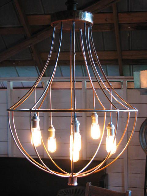 Industrial Chandelier with Edison Bulbs by SnodonIron on Etsy, $595.00