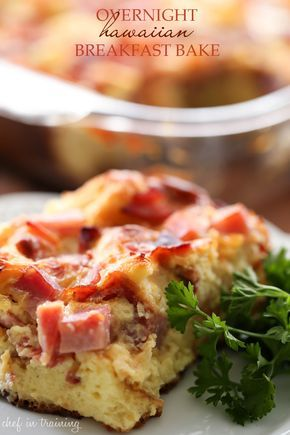 Overnight Hawaiian Breakfast Bake from chef-in-training.com ...This is an easy breakfast that is packed ham, pineapple, bacon and hawaiian rolls! It is amazing!