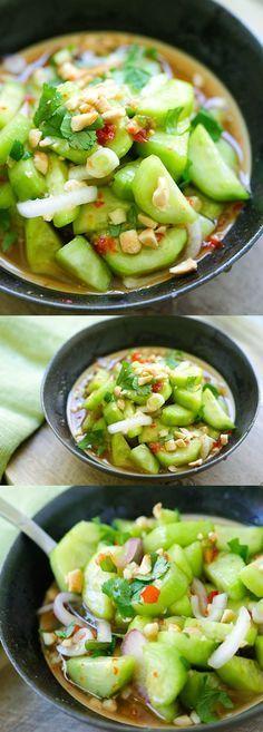 Thai Cucumber Salad - easiest and best homemade Thai cucumber salad recipe that is better than your favorite Thai restaurants, guaranteed!