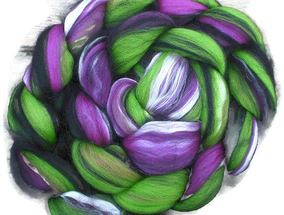 Fuchsia and Apple Luxury Blend of Merino Silk and Baby Alpaca Roving - Spinning and Felting Fiber