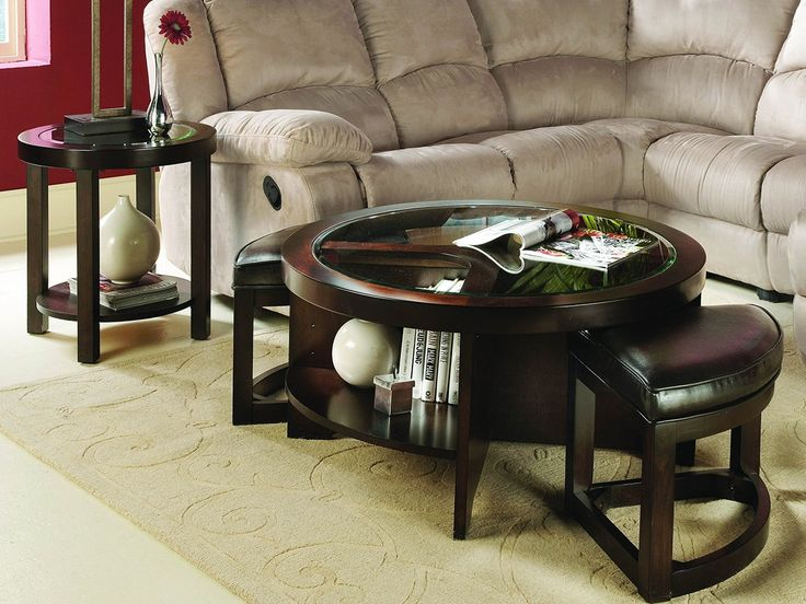 Brown Ottoman Coffee Table From Red Wood