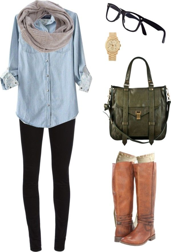 Comfy and cute with Basics (Jean shirt, sweater infinity scarf, riding boots, some super comfy socks).