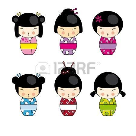 Festlegen von Japanisch Kokeshi Puppen, vector