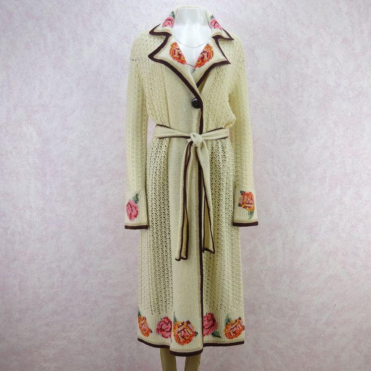 2000s Open Weave Knit Wool Belted Coat in a 1920's Style