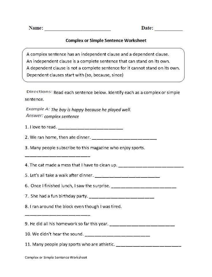 Complex or Simple Sentence Worksheet
