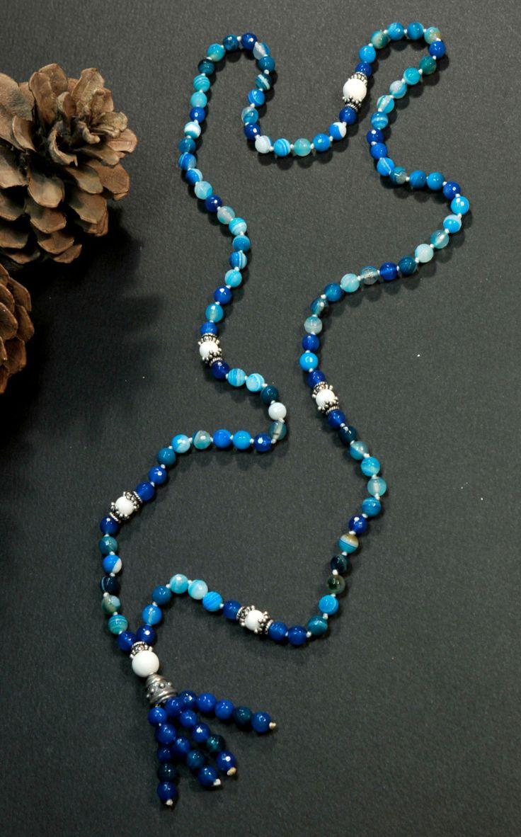 Deep Blue Agate Mala Necklace Boho Style