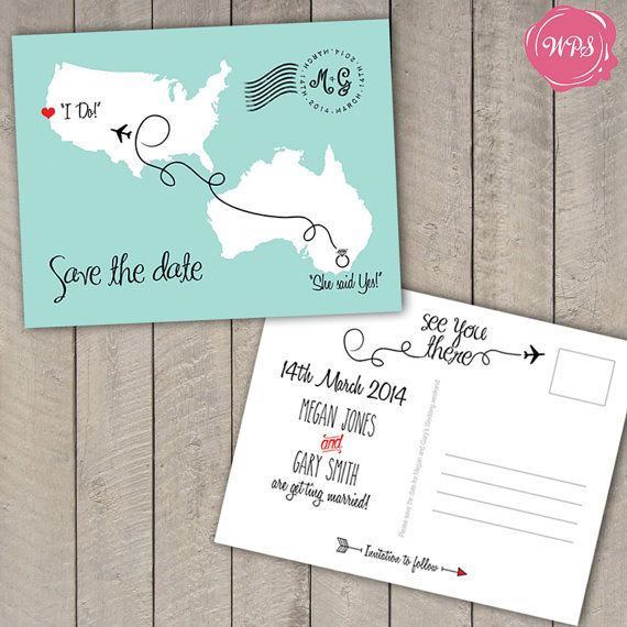 Wedding Invitation Postcard: Destination Wedding Save The Date Postcard