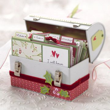 Use index card box - fill with cards, tags, etc.