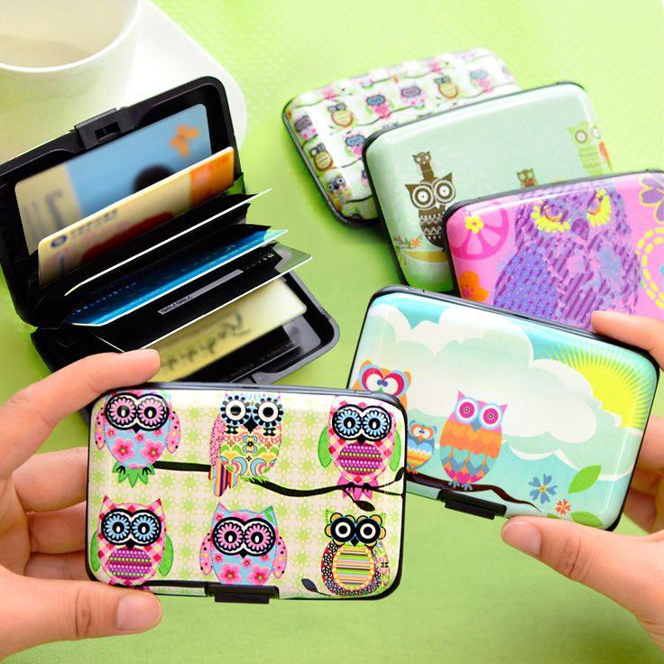 L39 Kawaii Owl 7 Pockets Plastic Box Design Card Holder Credit / Bank Card Case Wallet Business Card Storage
