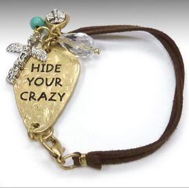 Leather Charm Bracelet strapped western bracelet hide your crazy $18.99