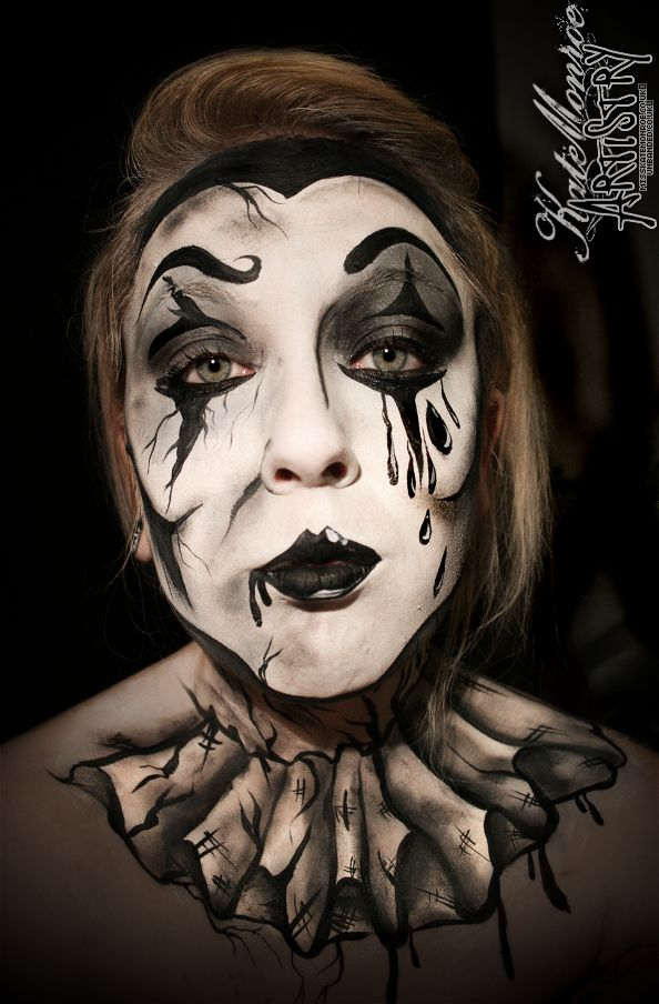 pierrot clown face paint body art halloween creepy scary - Mime For Halloween