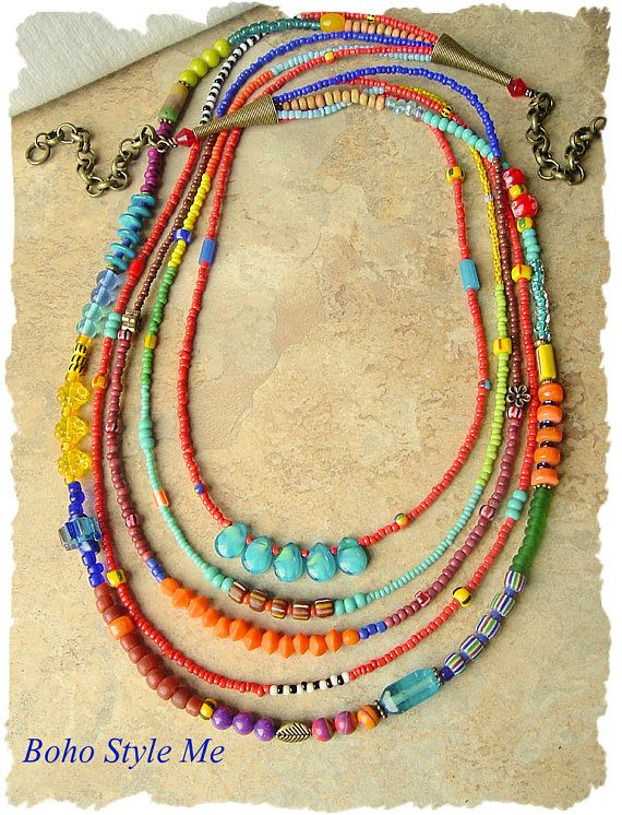 Boho Colorful Beaded Necklace Handmade Bohemian Jewelry