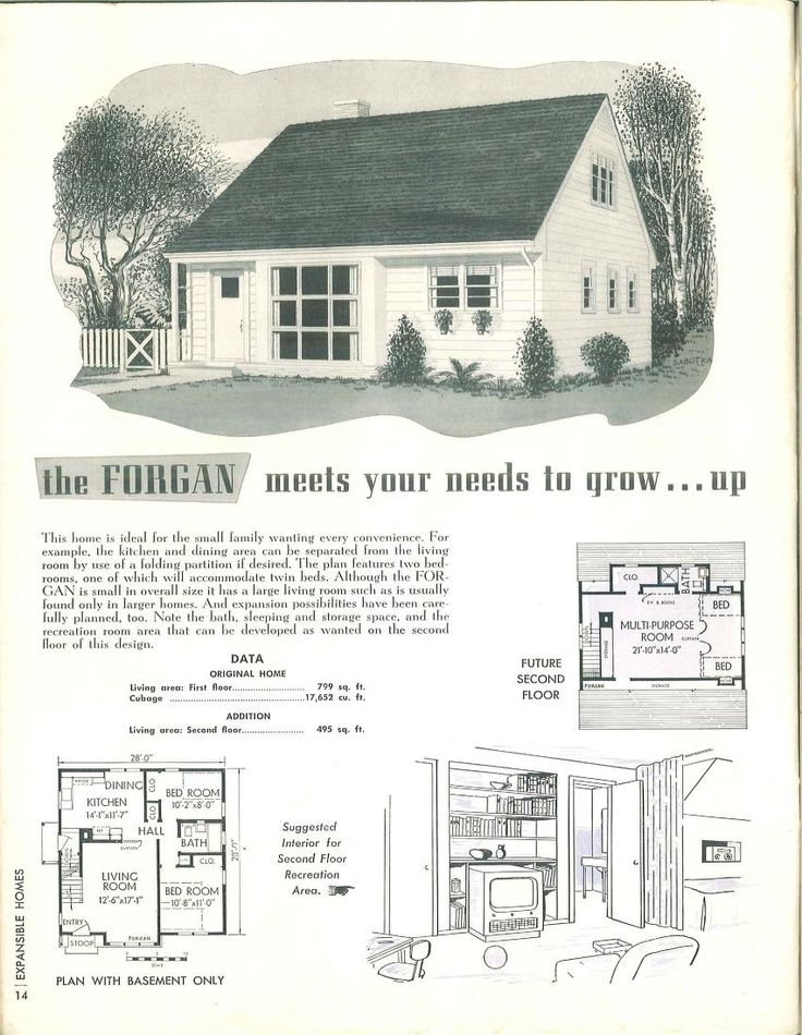 Expansible homes designed to grow.1952