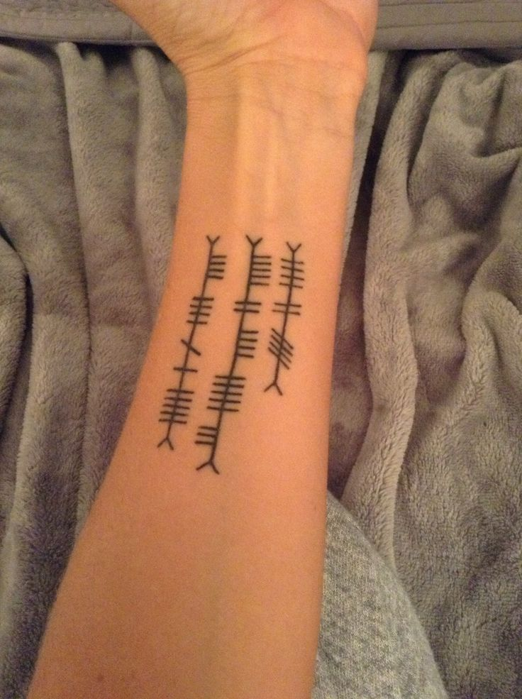 Ogham writing. The names of my husband,son and daughter. Love this tattoo! ( even though the husband is soon to be an ex!)