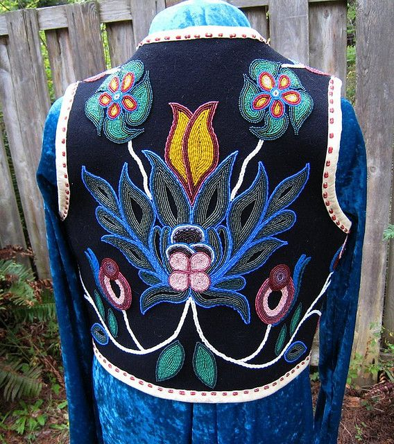 Woodland Floral Vest: Wool vest hand beaded with Ojibwa floral designs. Fully lined. Back view. - Judy Tepley
