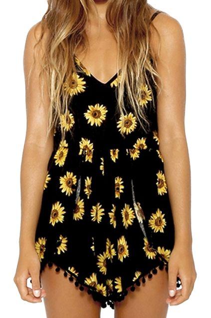 99236a77cb Sunflower Print Sleeveless Playsuit