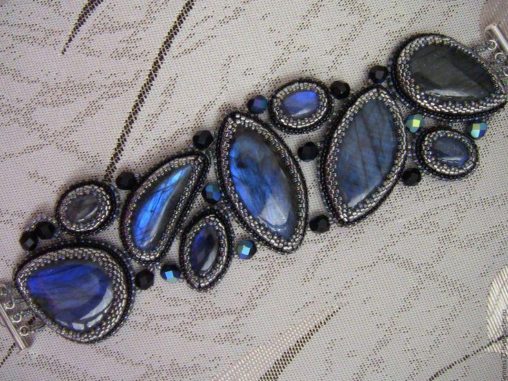 """Купить Браслет с лабрадором """"Синие озера"""" - тёмно-синий, браслет, браслет с камнями, лабрадор натуральный"""