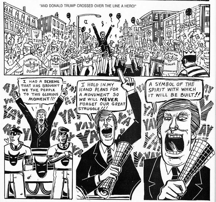Heavy Metal construye un muro antes que Donald Trump. - Personajes como Trump han sido centro de burla y crítica desde hace varios años, y la revista Heavy Metal realizó una sátira a este personaje junto a Harry Helmsley, en el que ambos conspiran para construir un muro para mantener a varios grupos de gente fuera de los Estados Unidos, algo muy similar a uno de sus puntos utilizados en sus discursos de campaña presidencial.