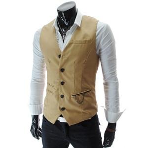 Chain Zipper Pocket 5 Button Slim Vest Waistcoat
