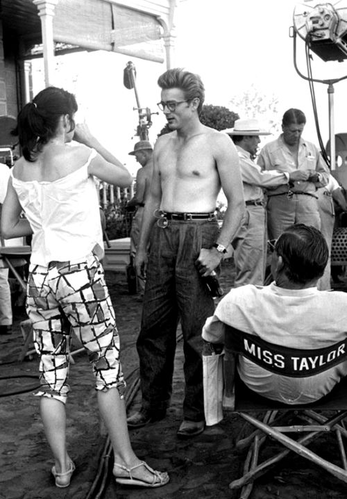James Dean, Elizabeth Taylor And Rock Hudson On The Set Of Giant