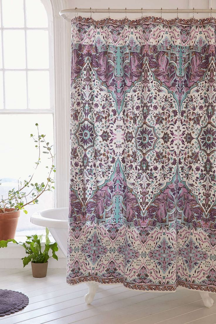 Pinterest urban outfitters gold shower curtain and peacock bathroom