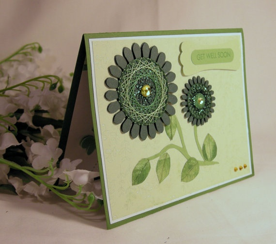 Get Well card with Spirelli flower.