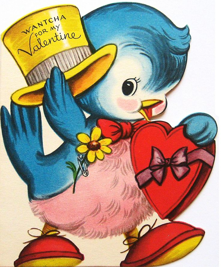 Vintage Blue Bird Valentine Clip Art Image - PnG and JpG Image - 5x7 inches…