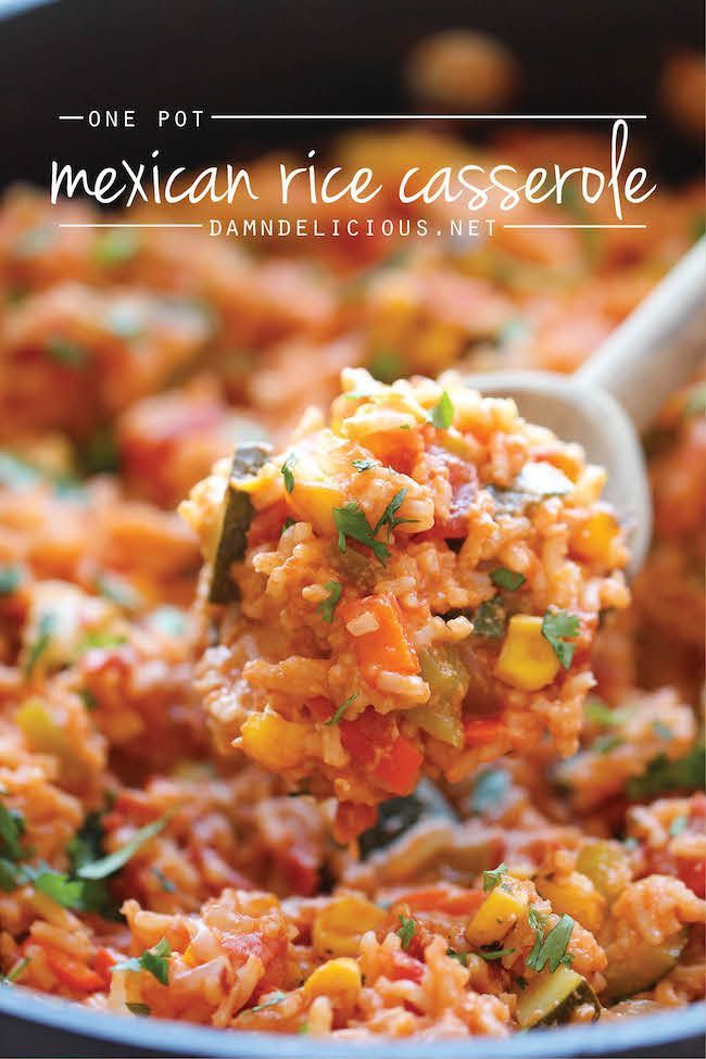 One Pot Mexican Rice Casserole - Easy old comfort food made in a single pan - even the rice gets cooked right in the pot!