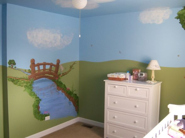 Emmas Classic Pooh Nursery, A gender-neutral Classic Winnie-the-Pooh nursery with custom murals.  We created this nursery to last through more than one child, and to reflect my love of the Pooh stories.  My husband painted the background colors (blue sky and green hills), my father painted all of the custom scenery, and I added the character decals (which we purchased at Target). Another view of the diaper changing area without the changing table.