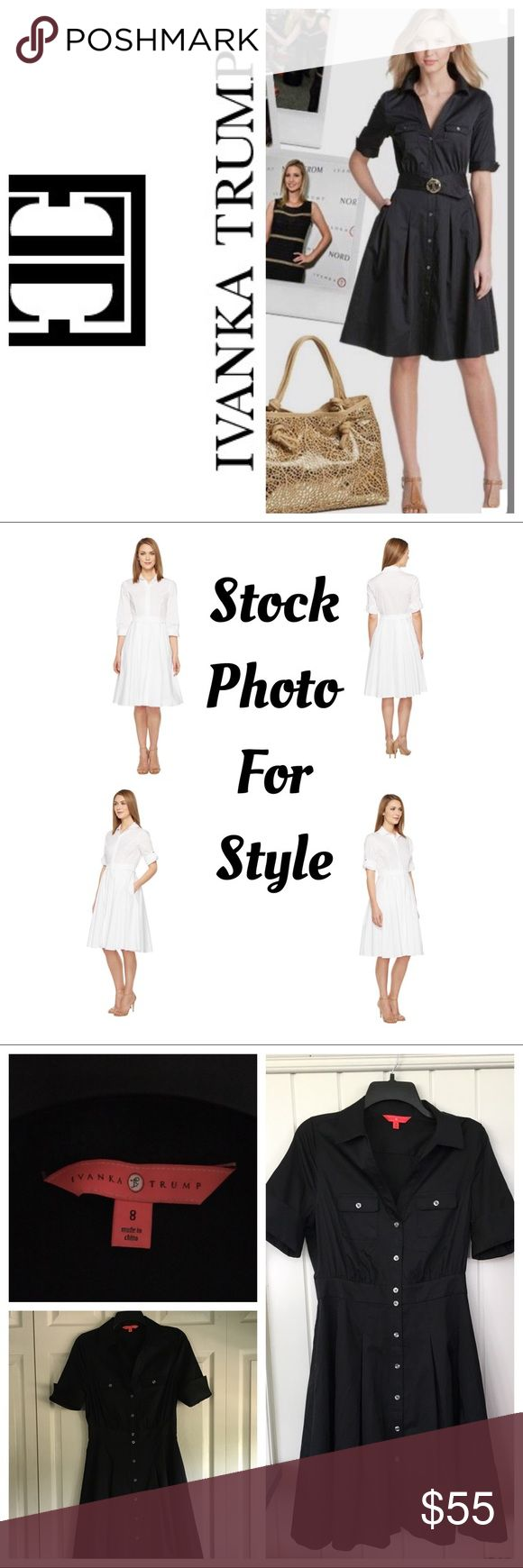 """Ivanka Trump Cotton Flare Pleated Dress Black Flaunt a classic look with this crisp cotton-blend dress. Fit-and-flare silhouette with feminine pleated details at the waist. Fold-over collar. Zip closure boasts a hidden flap detail. Size 8. Please read measurements as this runs a little small depending on your body frame- waist at band- 14"""" Underarm to Underarm- 14"""" Shoulder to Cuff (folded up)- 11"""" Length from waistband to bottom- 21.5"""" length from Shoulder to bottom- 38"""" Shoulder to…"""