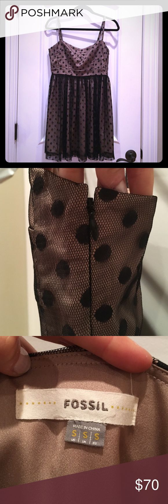 Fossil cocktail dress w/ black polka dot mesh Beautiful classy cocktail dress! Side zipped is very discreet. Adjustable straps. Worn once. In perfect condition! Fossil Dresses Mini