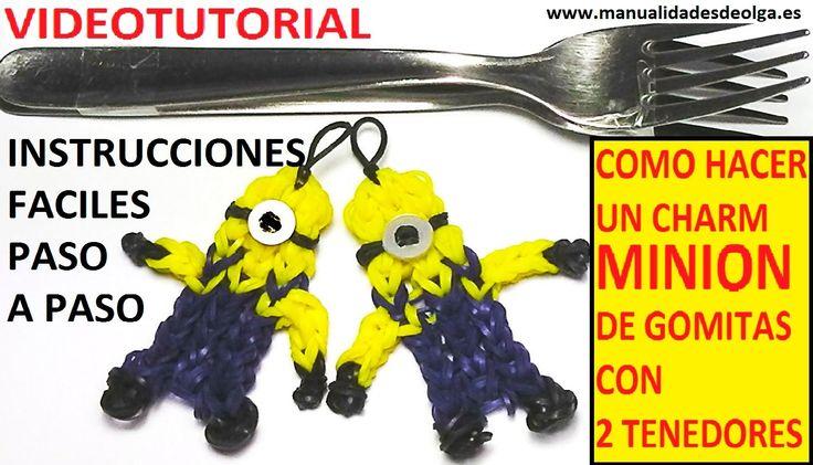 COMO HACER UN MINION DE GOMITAS CON DOS TENEDORES. VIDEO TUTORIAL DIY FI...