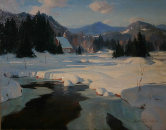 """By The Mulet River, Laurentian Mountains Oil on board, 16"""" X 20"""" Eric Riordon"""