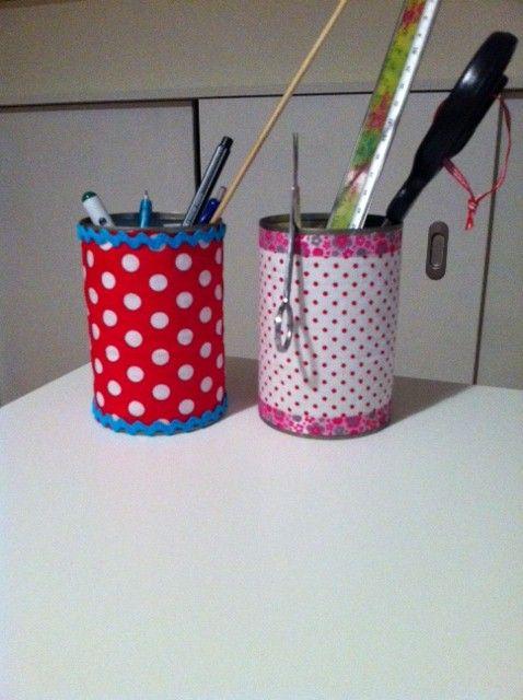 Pennenhouder van restjes stof, DIY op mijn blog