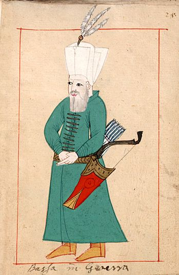 "Pasha at war ""Bassa in Guerra"". The 'Rålamb Costume Book' is a small volume containing 121 miniatures in Indian ink with gouache and some gilding, displaying Turkish officials, occupations and folk types. They were acquired in Constantinople in 1657-58 by Claes Rålamb who led a Swedish embassy to the Sublime Porte, and arrived in the Swedish Royal Library / Manuscript Department in 1886."