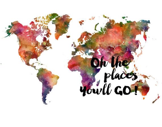 Kids World Map Places you'll go world Map Art Print by DaniJArts