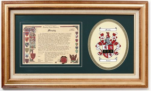 Framed Irish Coat of Arms & Family History
