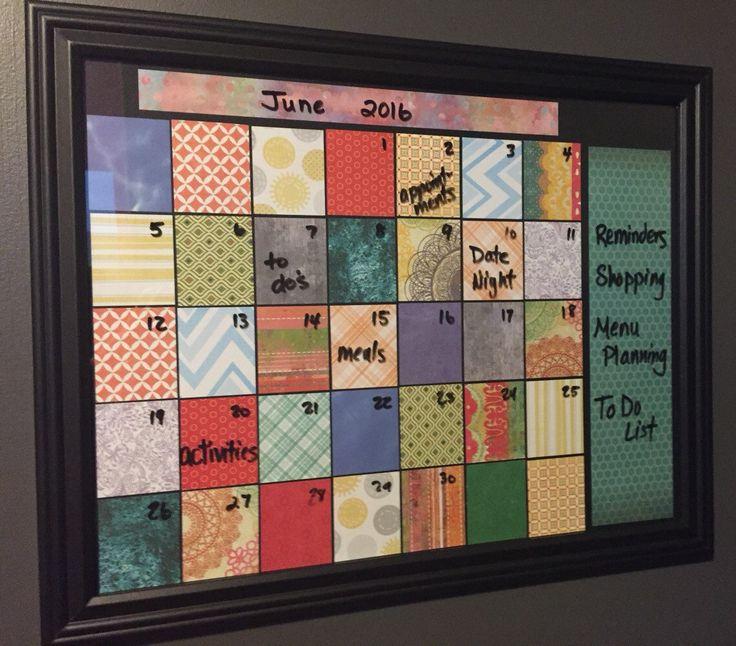 Framed Dry Erase Monthly Calendar, Family Organizer, Dorm Room Planner, Home Decor, Wall Hanging by DesignCreateInspire on Etsy