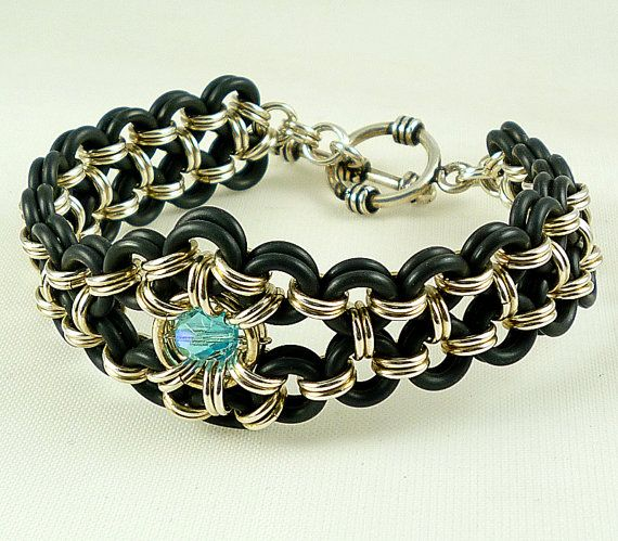 Statement Black Rubber Sterling Silver Chainmaille Bracelet Cuff