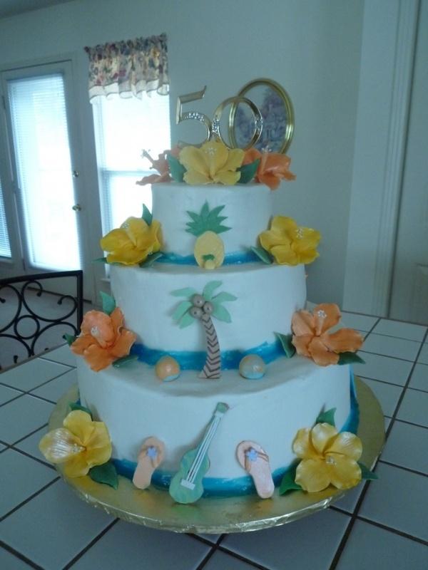 Hawaiian 50th Anniversary Cake Party Ideas In 2019