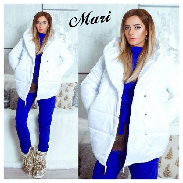 Куртка женская зимняя теплая с глубоким капюшоном белый