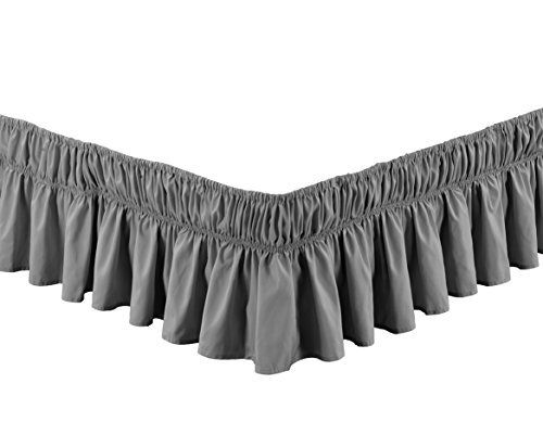 Product review for Wrap Around GREY Ruffled Elastic Solid Bed Skirt Fits both QUEEN, KING and CAL KING size bedding High Thread Count 14 inch fall Microfiber Dust Ruffle, Silky Soft & Wrinkle Free..  - Microfiber is Colorfast-One plus for microfiber fabric is its ability to hold color well., Stain Resistant-People with children and those looking for easy Bed skirt for a bedroom, children's room or RV may especially like microfiber fabric for its durability and stain res