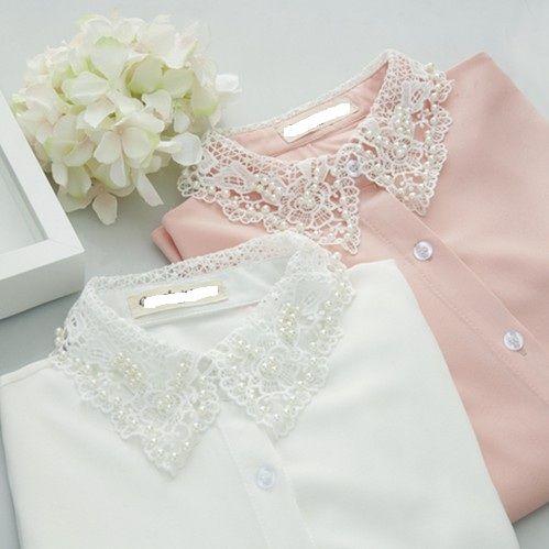 Envío libre blanco / rosa 2014 SpringFashion elegantes partida Encaje de manga larga de algodón Blusa Camisas de fitness Mujeres 0009