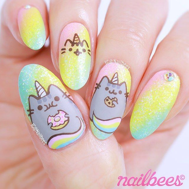 Pusheen Unicorn Inspired Nail Art ✨ Currently I'm in LOVE with her because she likes the foods that I likeA short video is coming up next Or watch the full version now on YouTube (Nailbees)✨