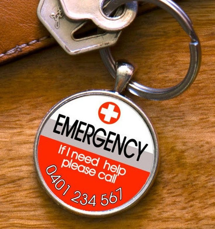 Medic alert emergency keyring with contact number medical