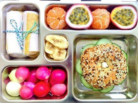 Weelicious.com: Cucumber Cream Cheese Bagel, Pineapple Fruit Leather, radish w/ lime, passion fruit + tangerines.