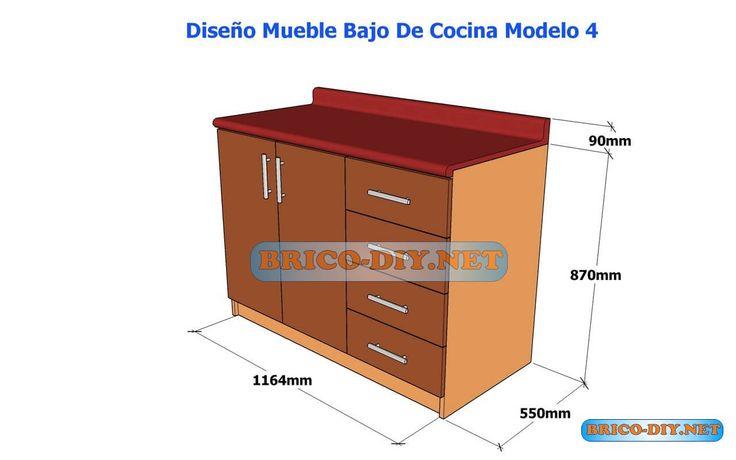 Dise os de muebles bajos de cocina en mdf madera y for Diseno muebles para cocina