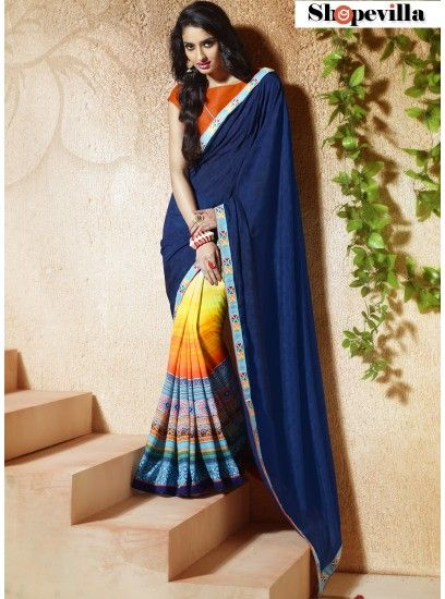 Bangalore Silk Blue Colour Trendy Printed Saree-610